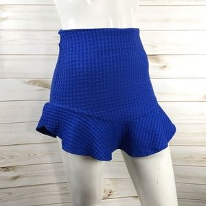 Zara Blue Textured Split Ruffle Hem Mini Skirt